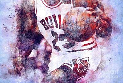 Royalty-Free and Rights-Managed Images - Chicago Bulls Player,Basketball Team,Sport Poster,NBA Art Print by Drawspots Illustrations