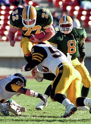 Sports Royalty-Free and Rights-Managed Images - Edmonton Eskimos Football - Blake Marshall - 1990 by Terry Elniski