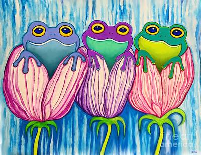 Stellar Interstellar - 3 Frogs in Flowers by Nick Gustafson