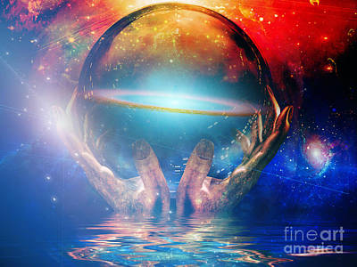 Surrealism Digital Art Rights Managed Images - Hands of Creator Royalty-Free Image by Bruce Rolff