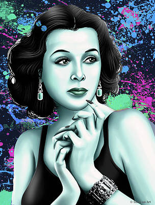 Monets Water Lilies Rights Managed Images - Hedy Lamarr Royalty-Free Image by Stars on Art