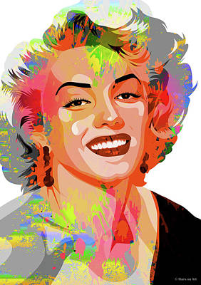 Monets Water Lilies Rights Managed Images - Marilyn Monroe Royalty-Free Image by Stars on Art
