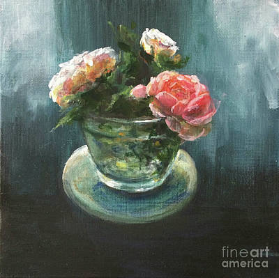 Royalty-Free and Rights-Managed Images - 3 Roses in a Jar  by Lizzy Forrester
