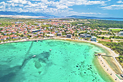 Royalty-Free and Rights-Managed Images - Town of Novalja beach and waterfront on Pag island aerial view by Brch Photography