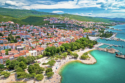 Global Design Shibori Inspired - Crikvenica. Town on Adriatic sea waterfront aerial view by Brch Photography