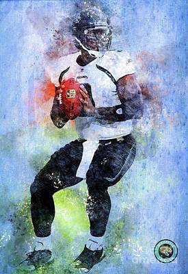 Royalty-Free and Rights-Managed Images - Jacksonville Jaguars NFL American Football Team, Jacksonville Jaguars Player,Sports Posters for Spor by Drawspots Illustrations