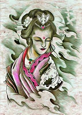Irish Leprechauns - Japanese Geisha Girl Art Kimono and Flowers by John Shepherd