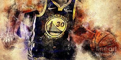 Recently Sold - Sports Royalty-Free and Rights-Managed Images - San Francisco Golden State Warriors Basketball Team,Sports Posters by Drawspots Illustrations