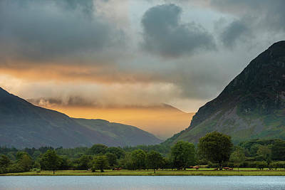 Curated Beach Towels - Stunning epic sunrise landscape image looking along Loweswater t by Matthew Gibson