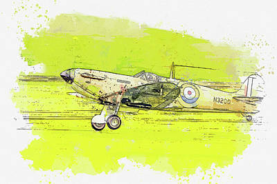 Rowing - Supermarine Spitfire Mkin watercolor ca by Ahmet Asar  by Celestial Images