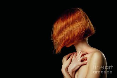 Typography Tees - Woman In Dark by Aleksey Tugolukov