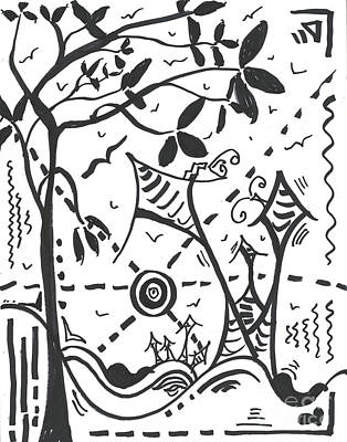 Drawing - Abstract Black and White MAD Doodle Sharpie Drawing Original Art Megan Duncanson by Megan Duncanson