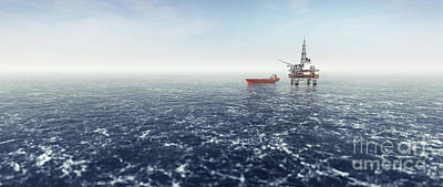 Curated Travel Chargers - Offshore drilling rig on the sea. Oil platform by Michal Bednarek