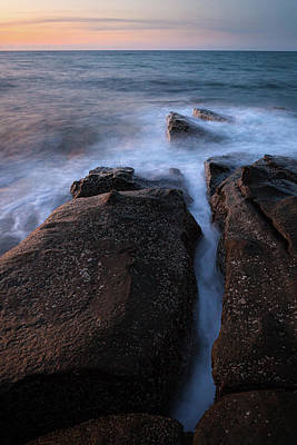 Classical Masterpiece Still Life Paintings - Waves and rocks shore long exposure by Juhani Viitanen