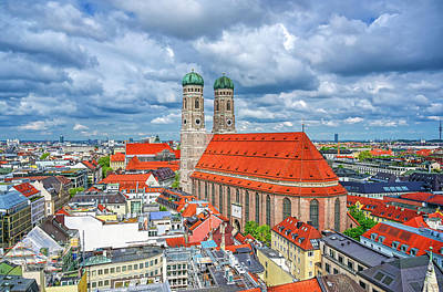 Beach House Signs - The Frauenkirche in Munich, Germany by James Byard