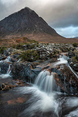 Thomas Kinkade Royalty Free Images - Epic landscape image of Buachaille Etive Mor waterfall in Scotti Royalty-Free Image by Matthew Gibson