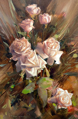 Aretha Franklin - 7 Happy Roses Cream De La Cream by Alexey Shalaev