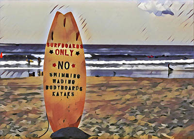 Surrealism Royalty-Free and Rights-Managed Images - 7th Street Surfing Beach by Surreal Jersey Shore