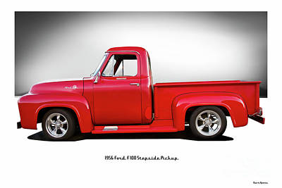License Plate Skylines And Skyscrapers Rights Managed Images - 1956 Ford F100 Stepside Pickup Royalty-Free Image by Dave Koontz