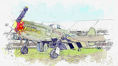 Vintage Movie Stars - North American P-D Mustang Toulouse Nuts , Vintage Aircraft - Classic War Birds - Planes watercolor  by Celestial Images