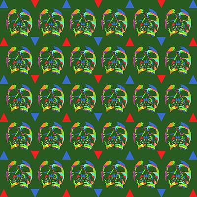 Royalty-Free and Rights-Managed Images - Skull Pattern Wpap Style Green Background by Ahmad Nusyirwan