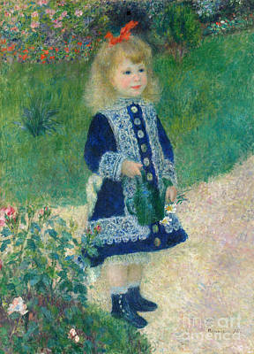 Colored Pencils - A Girl with a Watering Can - Remastered by Pierre-Auguste Renoir