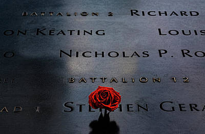 Vintage Automobiles - 911 Memorial - Names and Rose by Robert Ullmann