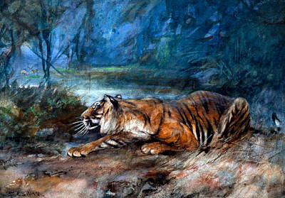 Animals Paintings -  A Bengal Tiger by Artistic Panda