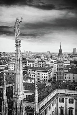 Animals Photos - A Birds Eye View of The City of Milan Italy Black and White by Carol Japp