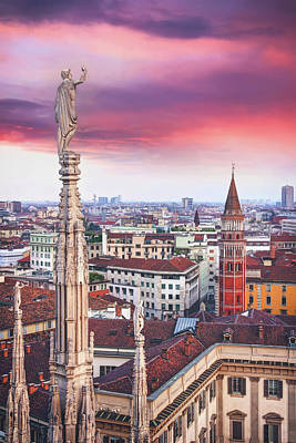 Animals Photos - A Birds Eye View of The City of Milan Italy by Carol Japp