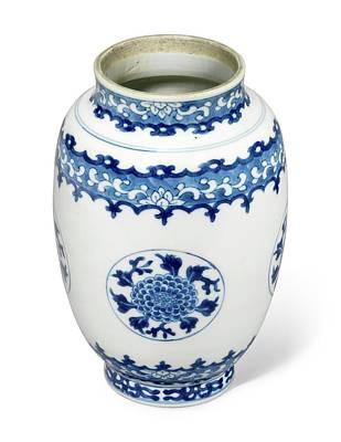 Thomas Kinkade Royalty Free Images - A Blue And White Ovoid floral Medallion Vase Kangxi Period Royalty-Free Image by Artistic Rifki