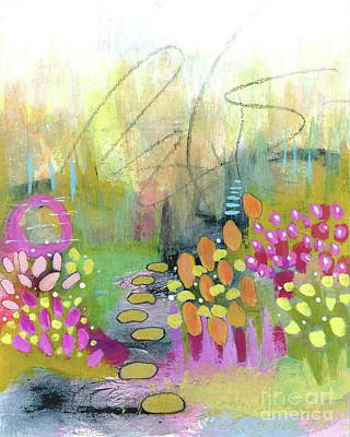 Steampunk - A Bright Future 1 Abstract Flower Garden Painting by Itaya Lightbourne