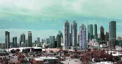 Surrealism Royalty-Free and Rights-Managed Images - A Calgary Skyline - Surreal Art by Ahmet Asar by Celestial Images