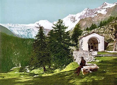 Royalty-Free and Rights-Managed Images - A chapel near Saas-Fee, Visp, Valais, Switzerland 1890. by Joe Vella