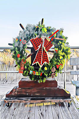 Surrealism Royalty-Free and Rights-Managed Images - A Christmas Wreath on the Boards by Surreal Jersey Shore