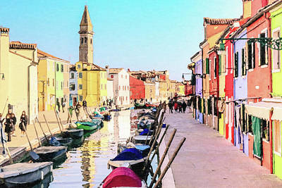 Typography Tees - A Colorful Painting of a Romantic Burano Waterway on a Sunny Day by Safran Fine Art
