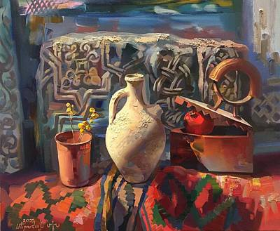 Painting - A cup a jug and an iron by Meruzhan Khachatryan