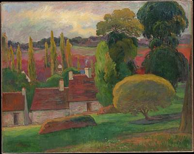 Sean Rights Managed Images - A Farm in Brittany by Paul Gauguin 1848 1903 Royalty-Free Image by Arpina Shop