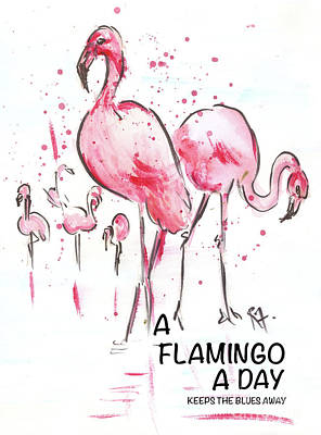 Painting - A Flamingo a day keeps the blues away by Remy Francis