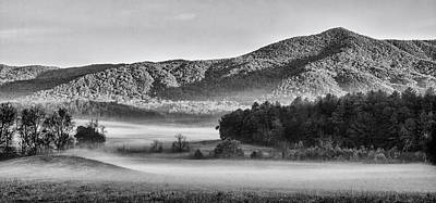 Curated Beach Towels - A Foggy Cades Cove Morning by Bob Decker