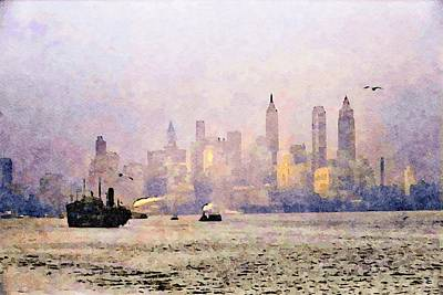 Granger - A freighter entering New York Harbor 1941. by Joe Vella