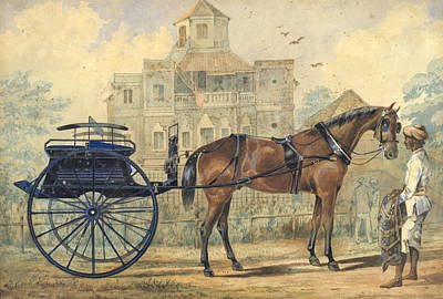 Animals Paintings -  A horse and carriage outside a colonial house by Artistic Panda