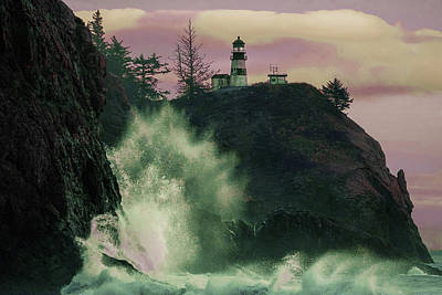 Surrealism Royalty Free Images - a Lighthouse Near Body of Water - Surreal Art by Ahmet Asar Royalty-Free Image by Celestial Images