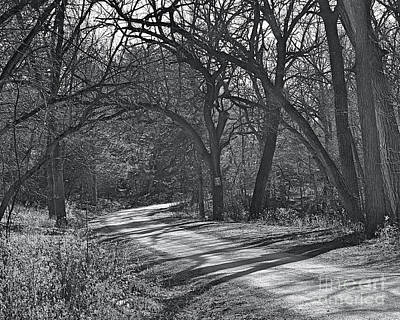 David Bowie Royalty Free Images - A Long Trail A-Winding in BW Royalty-Free Image by Linda Brittain