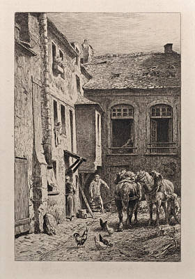 Drawing - A Paris Courtyard In 1865 by Charles-Emile Jacque