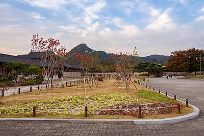 Monochrome Landscapes - A park in the grounds of Gyeongbokgung Palace and Inwangsan Mountain by Snap-T Photography