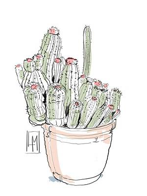 Longhorn Paintings - A Pot Cactus by Luisa Millicent