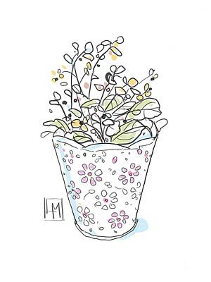 Black And White Ink Illustrations - A Small floral Vase of Flowers by Luisa Millicent