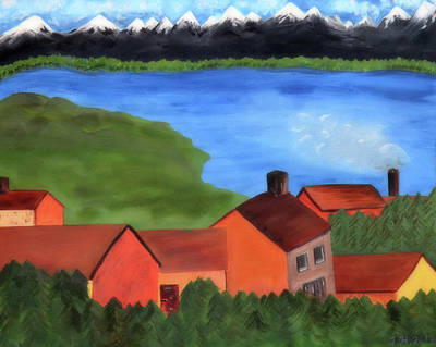 Clouds - A Small Village By The River Next To The Mighty Mountains by Johanna Hurmerinta