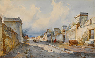 Colored Pencils - A street in Pompeii with figures by Artistic Panda